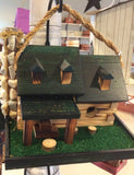 Amish Made Log Cabin Bird House - Amish Baskets and Beyond
