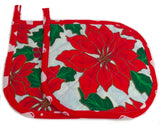 Amish Handmade Reversible Quilted Potholders in Christmas Poinsietta - Set of 2