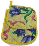 Amish Handmade Quilted Potholders in Yellow Floral - Set of 2