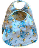 Handmade Reversible Baby Boy Bib Set - Blue Elephants