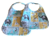 Handmade Reversible Baby Boy Bib Set - Turquoise Yellow Gray Elephants