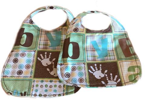 Handmade Reversible Baby Boy Bib Set - Handprints
