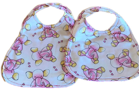 Handmade Reversible Baby Girl Bib Set - Pink Elephants