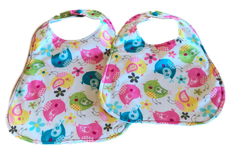 Handmade Reversible Baby Girl Bib Set - Birds