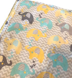 Handmade Minky Baby Blanket - Yellow, Turquoise, Gray Elephants