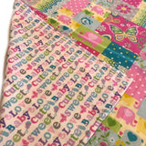 Handmade Patchwork Print and Flannel Baby Blanket - Turquoise, Pink
