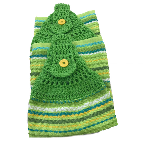 Handmade Crochet Top Hanging Dish Towel - Green and Yellow Stripe - Set of 2