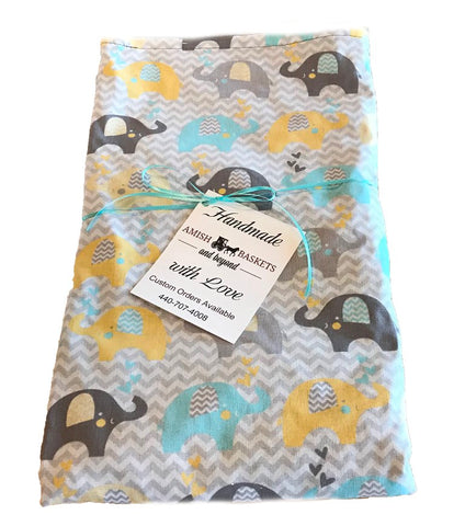 Handmade Gray Minky Baby Blanket - Yellow, Turquoise, Gray Elephants