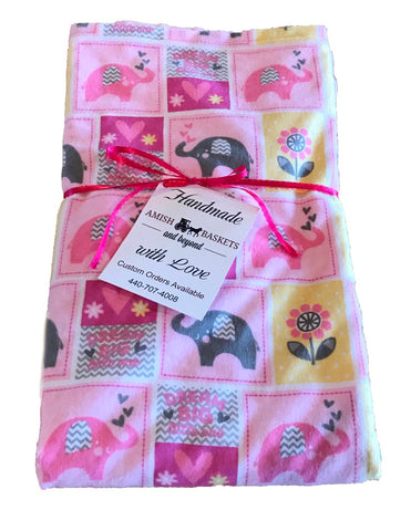 Handmade Light Pink Minky Baby Blanket - Yellow, Pink, Gray Elephants