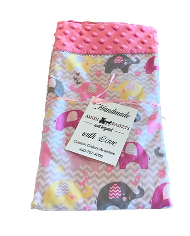 Handmade Dark Pink Minky Baby Blanket - Pink, Yellow, Gray Elephants
