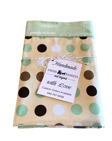 Handmade Precious Baby Polka Dot Hand Prints Flannel Baby Blanket - Green, Yellow, Brown