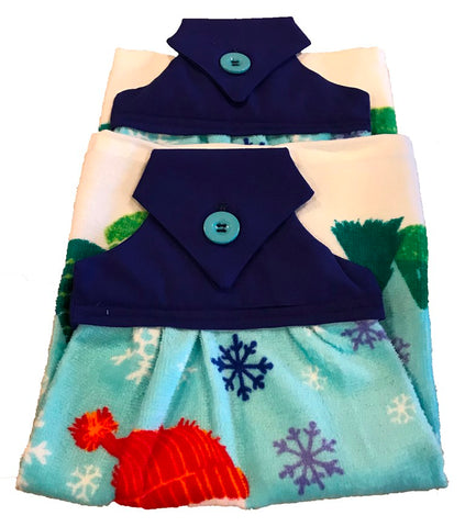 Handmade Sewed Top Christmas Hanging Dish Towel - Snowmen - Blue Top - Turquoise - Set of 2