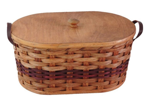 Amish Handmade Knitting/Sewing Basket - Oval - Amish Baskets and Beyond