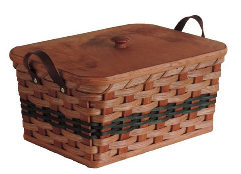Amish Handmade Knitting/Sewing Basket - Rectangular - Amish Baskets and Beyond