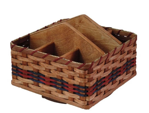Amish Handmade Lazy Susan Organizer Basket - Amish Baskets and Beyond