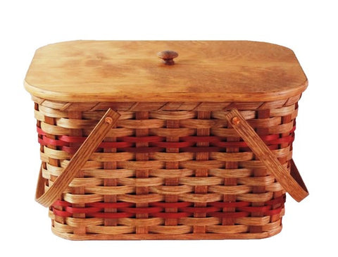 Amish Handmade Picnic Basket - Medium - Amish Baskets and Beyond