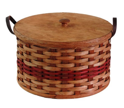 Amish Handmade Round Double Pie Carrier Basket - Leather Loop Handles - Amish Baskets and Beyond
