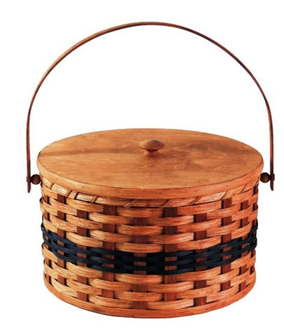 Amish Handmade Round Double Pie Carrier Basket -  Swinging Handle - Amish Baskets and Beyond