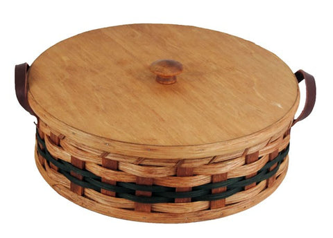 Amish Handmade Round Single Pie Carrier Basket - Amish Baskets and Beyond