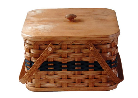 Amish Handmade Square Double Pie Carrier Basket - Regular - Amish Baskets and Beyond
