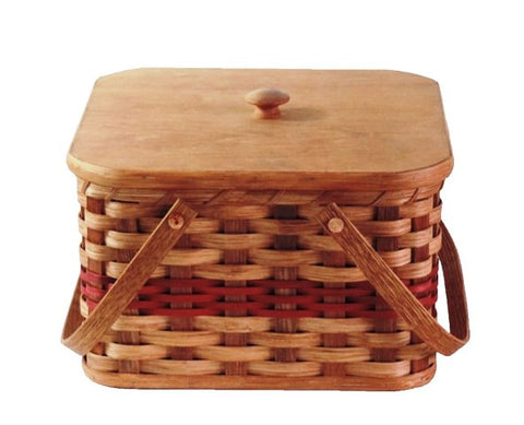 Amish Handmade Square Double Pie Carrier Basket - Large - Amish Baskets and Beyond
