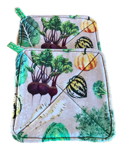 Amish Handmade Reversible Quilted Potholders - Turnips-Green Floral - Set of 2