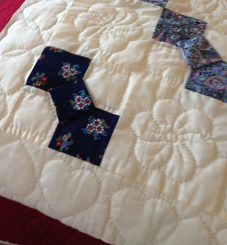Amish Handmade Double Bed Quilt - Bow Tie Design - Amish Baskets and Beyond