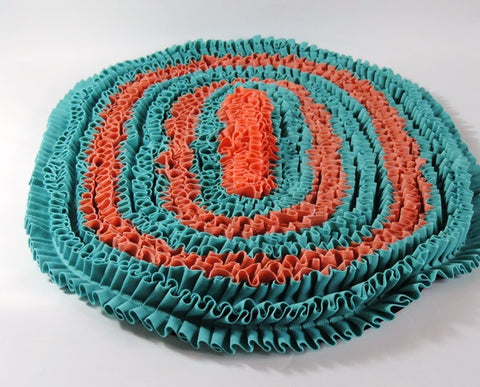Amish Hand Sewn Rag Rug in PEACH and TURQUOISE - Amish Baskets and Beyond