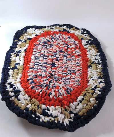 Amish Handmade Amish Knot Rug in ORANGE, BLUE, TAN - Amish Baskets and Beyond