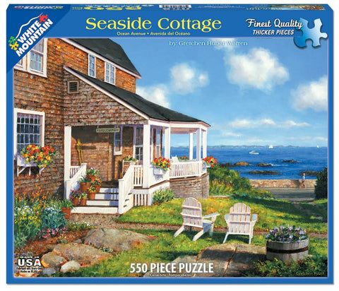 Made in the USA Jigsaw Puzzle - 550 Pc. - Seaside Cottage - Amish Baskets and Beyond