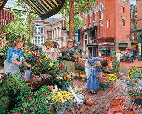 Made in the USA Jigsaw Puzzle - 1000 Pc. - Sidewalk Flower Sale - Amish Baskets and Beyond