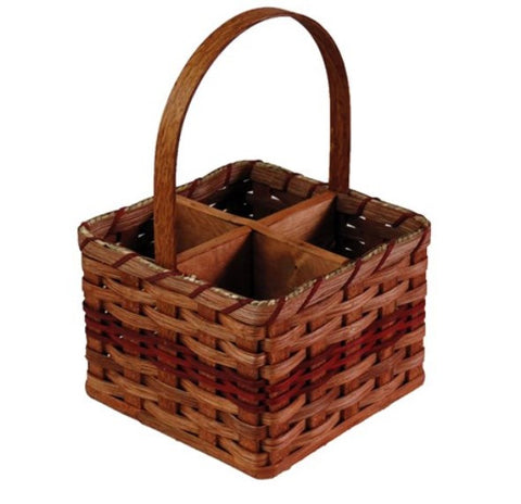 Amish Handmade Wine Carrier Basket - 4-Bottle - Amish Baskets and Beyond