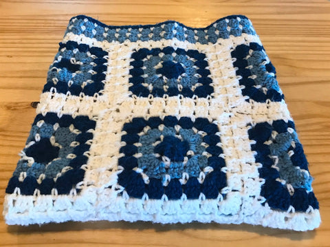 Handmade Crochet Baby Boy Blanket - Blue-White