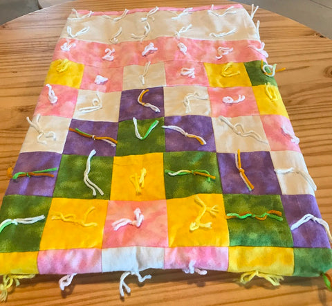 Amish Handmade Patchwork Baby Girl Crib Quilt - Pink-White - Amish Baskets and Beyond