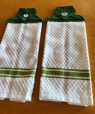 Handmade Sewed Top Hanging Dish Towel - White - Green Top-Set of 2 - Amish Baskets and Beyond