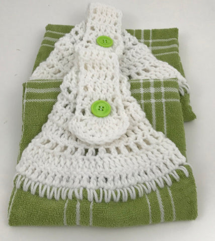 Handmade Crochet Top Hanging Dish Towel - Green Plaid- Set of 2