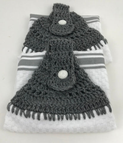 Handmade Crochet Top Hanging Dish Towel - Gray Stripe - Set of 2 - Amish Baskets and Beyond