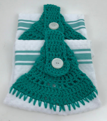 Handmade Crochet Top Hanging Dish Towel - Turquoise Stripe - Set of 2