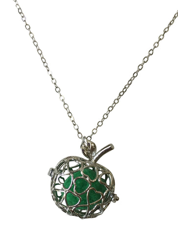 Apple Pendant Essential Oil Diffuser Necklace 18 Inch Silver Colored