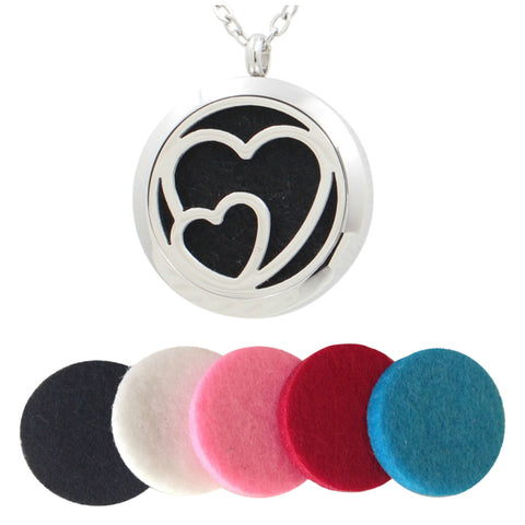 Stainless Steel Essential Oils (Hearts) Diffuser Necklace Pendant …
