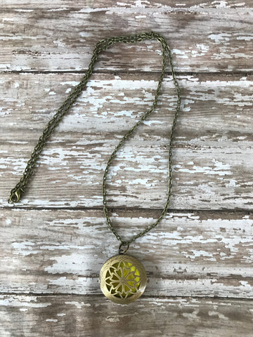 Antique Bronze Colored Diffuser Necklace