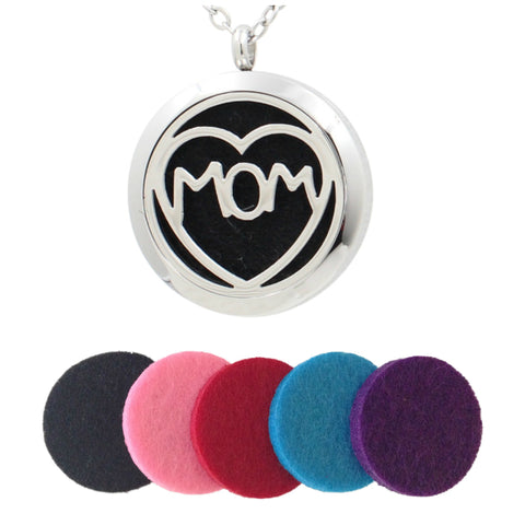 Stainless Steel Essential Oils (MOM) Diffuser Necklace Pendant