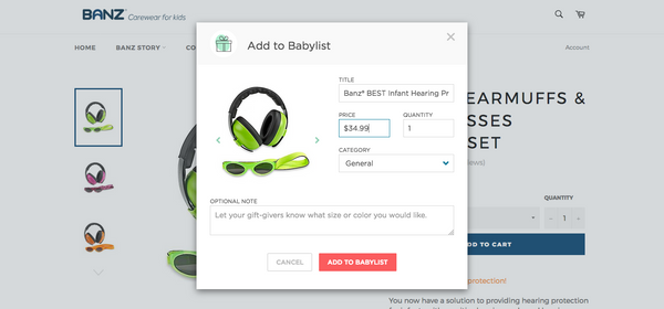 Add Banz to your baby registry on BabyList with one click!