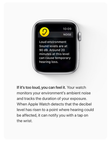 Apple Watch Hearing Health Noise App warns you when the noise level is too high and damaging
