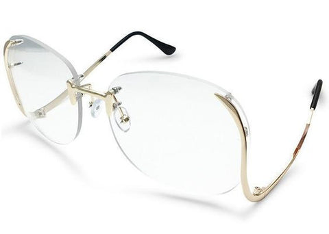 Rimless Butterfly Clear Gold Sunglasses