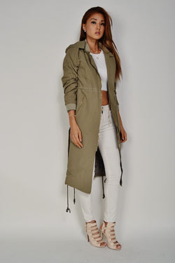 Olive LONG SAFARI JACKET - Wynning