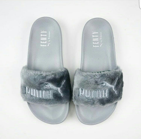 Rihanna Fenty Leadcat Fur Puma Slippers Gray - Wynning