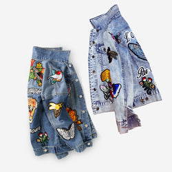 Tiger Floral animal vintage Denim women Jacket