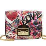 Graffiti Love Mini Flap Shoulder Bag