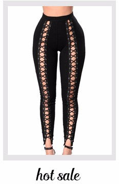 Black Hollow Out Leggings